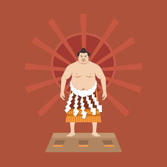 Sumo Wrestler, Vector illustration
