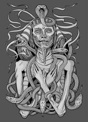 image of pharaoh mummy with snakes