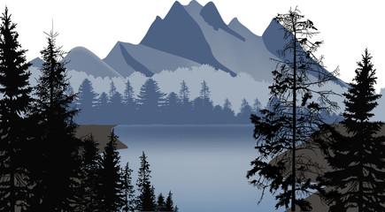 high mountains neat grey lake