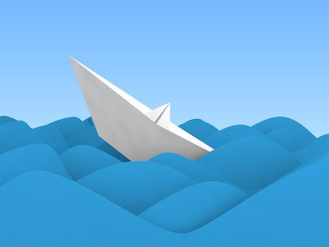 3d paper boat sinking in ocean waves