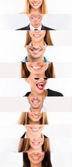 Collage of white human  smiles.