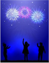 Fireworks show . Children silhouettes.