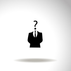 Businessman icon with question mark as a head - suspect concept.