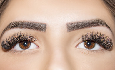 Woman brown eyes with extremely long eyelashes
