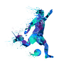 Soccer player. Spray paint on a white background