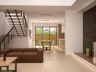 3d illustration of good modern interior view from the living roo