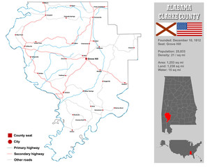 Large and detailed map and infos about Choctaw County in Alabama.