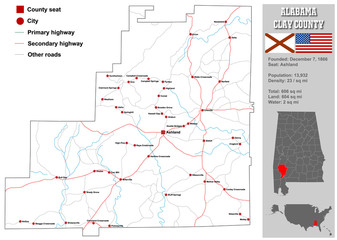 Large and detailed map and infos about Clay County in Alabama.