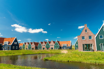 Photo on textile frame City on the water Classic homes of Volendam, Netherlands