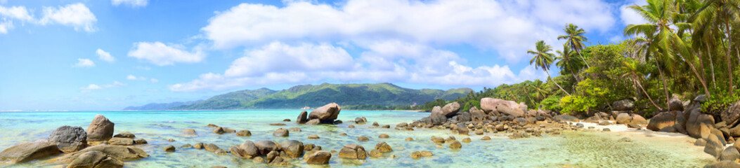 Wall Mural - Tropical beach panorama with palms and rocks, Mahe Island, Seychelles