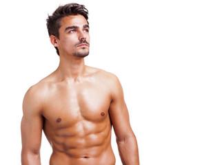 Shirtless man on white background