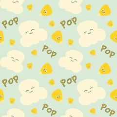 corn grain and popcorn cute cartoon seamless vector pattern background illustration