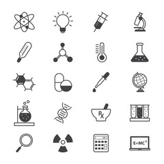 Science and Medical Icons Line