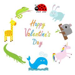 Happy Valentines Day. Love card. Cute animal frame. Baby background. Ladybug, koala, whale, rabbit, unicorn, alligator, giraffe and iguana. Flat design
