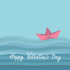 Happy Valentines Day. Love card. Origami paper boat and ocean sea waves. Flat design