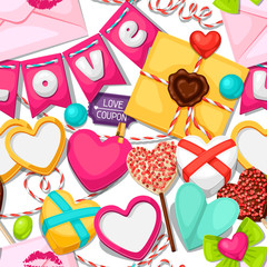 Seamless pattern with hearts, objects, decorations. Background can be used for Valentines Day and wedding
