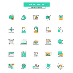 Flat Line Color Icons- Social media