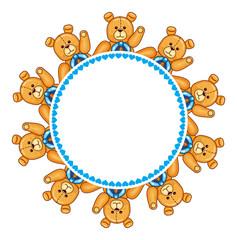 Round frame with Teddy Bears