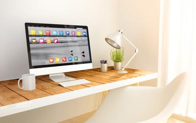 minimalist workplace and computer