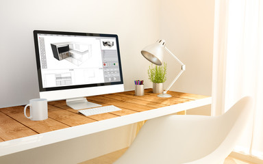 minimalist workplace with 3d software computer