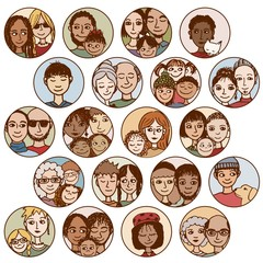 Hand drawn images of families, couples, friends, siblings, singles... multicultural, multiethnic, mixed & patchwork - #1