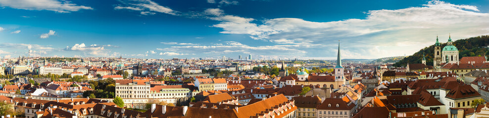 Panorama, cityscape of Prague, Czech Republic.