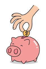 cartoon piggy bank, vector