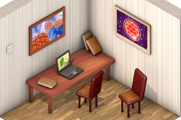 Low-polygonal isometric room with table, chairs, laptop, books and pictures. Wall pictures contain my illustrations of microworld, viruses, embryo and fungi Aspergillus niger
