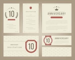 Ten years anniversary invitation cards template. Vector illustration.