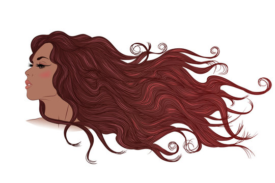 Profile of African American girl with long flowing brown hair