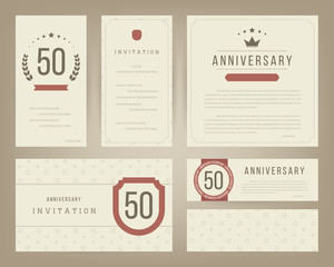 Fifty years anniversary invitation cards template. Vector illustration.