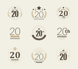 Twenty years anniversary celebration logotype. 20th anniversary logo set.