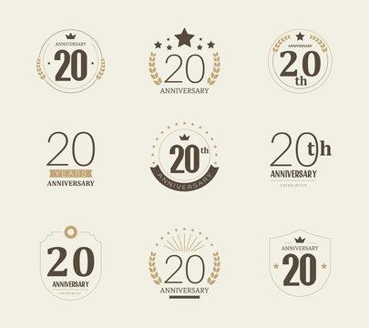 Twenty years anniversary celebration logotype. 20th anniversary logo set.