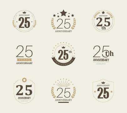 Twenty five years anniversary celebration logotype. 25th anniversary logo set.