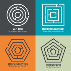 Labyrinth, maze shape logo design set. Rebus logic, game search mystery. Vector illustration