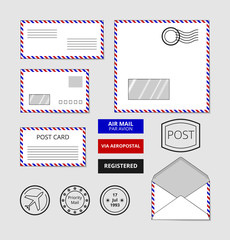 Airmail envelopes, postcard and badges set. Post stamp on letter, vector illustration