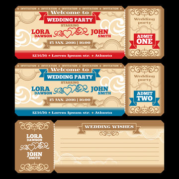 Vector ticket wedding invitation. Card invite design, marriage greeting illustration