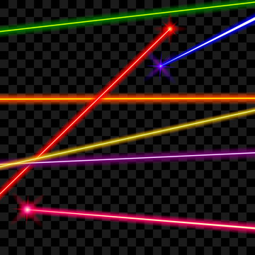 Vector laser beams on transparent plaid background. Ray energy, shiny line, bright color illustration