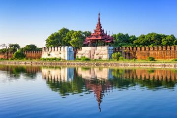Mandalay, Myanmar at the palace wall and moat. Wall mural