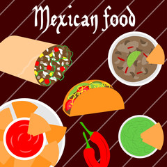 Mexican food banner.Vector illustration