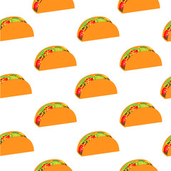 Tacos seamless pattern. Mexican food.