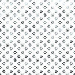 Dog Paw White Silver Metallic Foil Polka Dot Texture Background