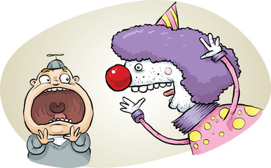 A cartoon child screams with fright after being surprised by a scary clown.