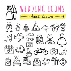 Hand drawn wedding icons: marriage, bride and groom, wedding couple, rings and other symbols. Vector wedding icons on white background.