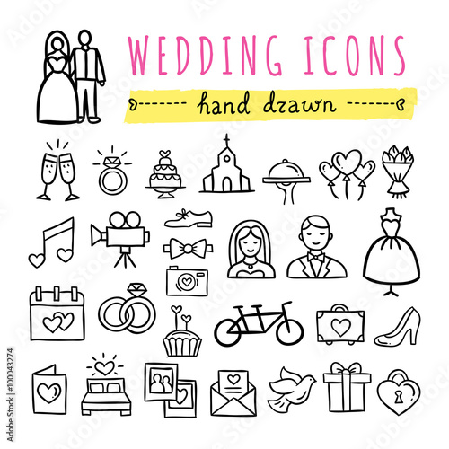 Hand Drawn Wedding Icons Marriage Bride And Groom Rings