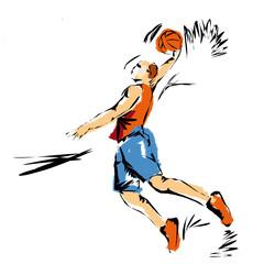 Palla canestro, illustrazione di una schiacciata di Basket