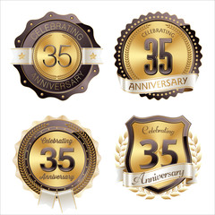 Gold and Brown Anniversary Badges 35th Year's Celebration