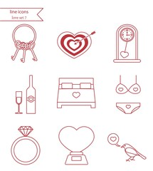 Vector line style icons. Love set 7