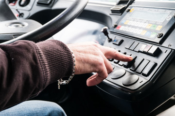 Bus driver push control button