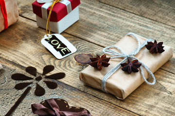 Gift boxes, handmade flower and word Love